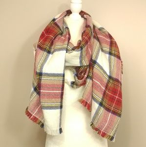 Oversized red plaid scarf